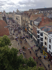 View of the streets of Oxford from the top of the Saxon Tower of St. Michael at the Gate