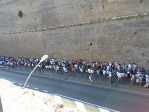 The line to get into the Vatican Museums.